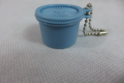 Vintage Tupperware Servalier Key Chain Canister Blue Rare New