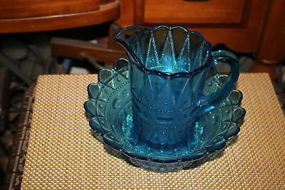 Antique Blue Glass Water Pitcher & Bowl-Raised Patterns-Scalloped Border