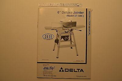 J143 Delta 6 Deluxe Jointer Model No. 37-190c Instruction Manual 1999