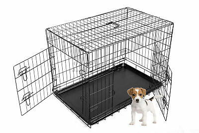 "FoxHunter 24"" Folding Pet Dog Puppy Training Cage Crate Small Black Two Door"