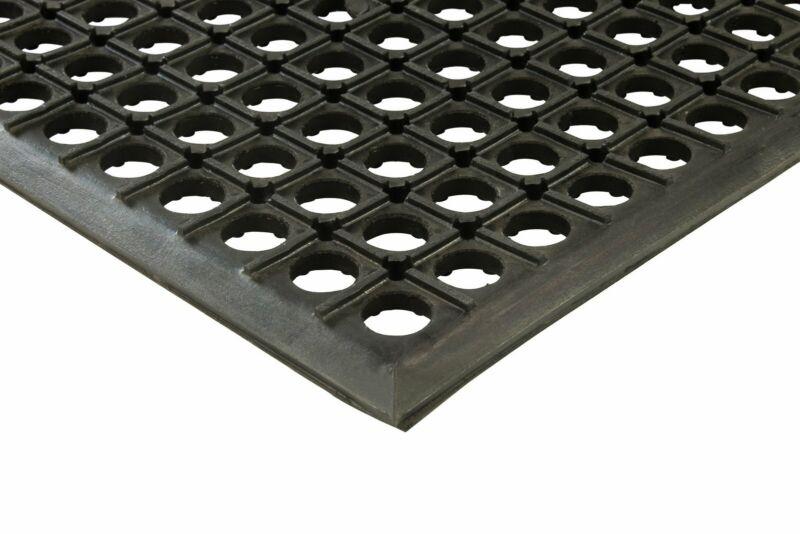 "Erie Tools 2x3 Black Rubber Drainage Floor Mat 24"" x 36"" Anti-Fatigue Anti-slip"