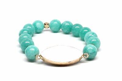 Druzy Beaded White Bracelet With Glosy Sean Green Beads