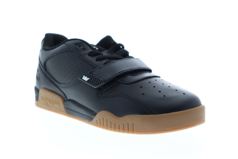 Supra Breaker Low 06577-038-M Mens Black Leather Athletic Skate Shoes
