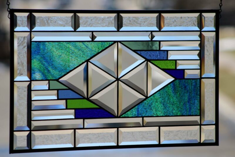 """Beveled Stained Glass Window Panel, Transom  ≈ 24 ½"""" x 14½""""(2 Available)"""