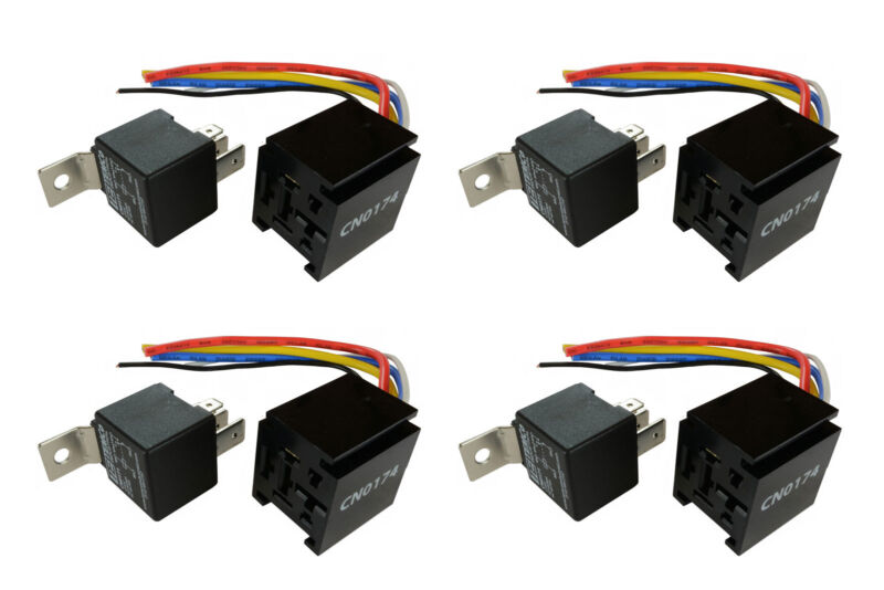 4 LOT TEMCo 12 V 60/80 Amp Bosch Style S Relay with Harness Socket Automotive