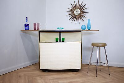DELIVERY£60 Mid Century Teak & Vinyl Home Cocktail Bar