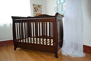 New 3 in 1 Sleigh Cot Bed Crib With Drawer White/Espresso Campbellfield Hume Area Preview