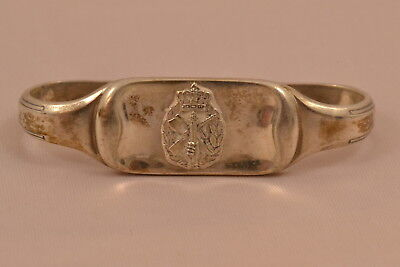 Serviettenring Krone Wappen Dänemark 830 SILBER napkin ring silver militaria