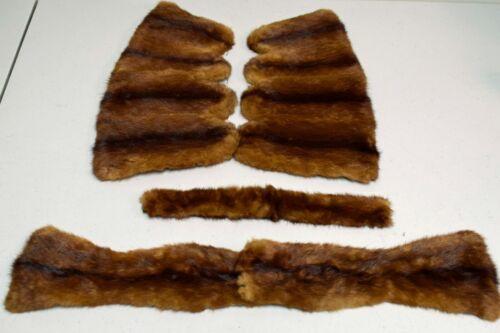 Vintage Mink Fur Sleeve Hem Edge Trim + Belt  ~ 5 Pieces Total ~