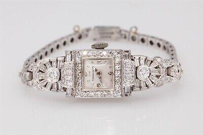 Antique 1950s $12,000 4ct VS G Diamond Tiffany & Co Ladies Platinum Watch WTY