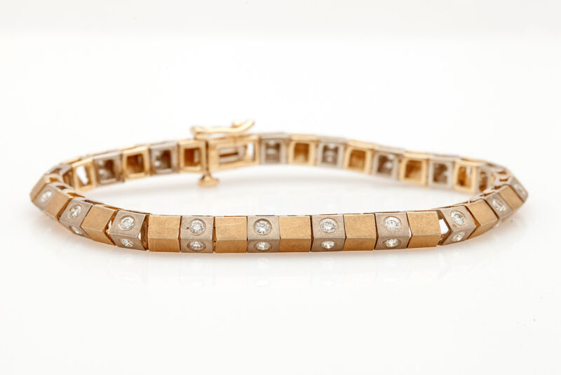 $8000 Designer Pyramid Link 3ct Vs F Diamond 14k Gold Heavy Link Bracelet