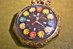 Antique Pocket Watch UNITED Electric Wall Clock Flowers 17inches   MOD   2.2