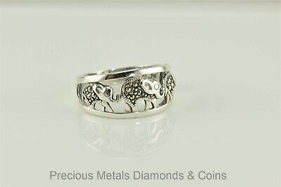 Tapered Sterling Silver Marcasite Accented Elephants Cutout Ring 925 NV Sz: 10 Elephant Tapered Ring