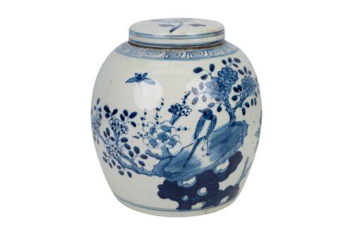 """Blue and White Porcelain Bird Motif Porcelain Ginger Jar 11"""""""