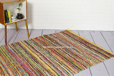 100% Recycled Cotton Handmade Mat Yellow Coloured Chindi Floor Rag Rug 5X7 Feet ()