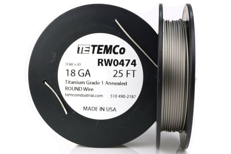 TEMCo Titanium Wire 18 Gauge 25 Ft Surgical Grade 1 Resistance AWG ga