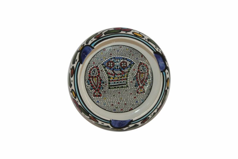 Holy Land Market Ceramic Round Ashtray with Fish and Loaves - Tabgha or Miracle