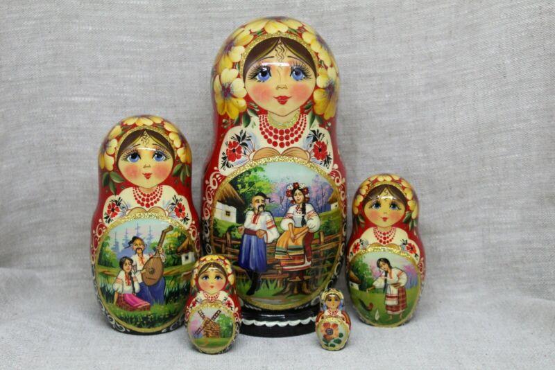 "Nesting dolls, matryoshka 7""tall, 5 pieces Ukrainian culture"