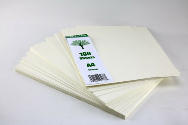 Craft UK 100 Cream Coloured Recycled A4 Sheets 250gsm Card Craft Cardstock