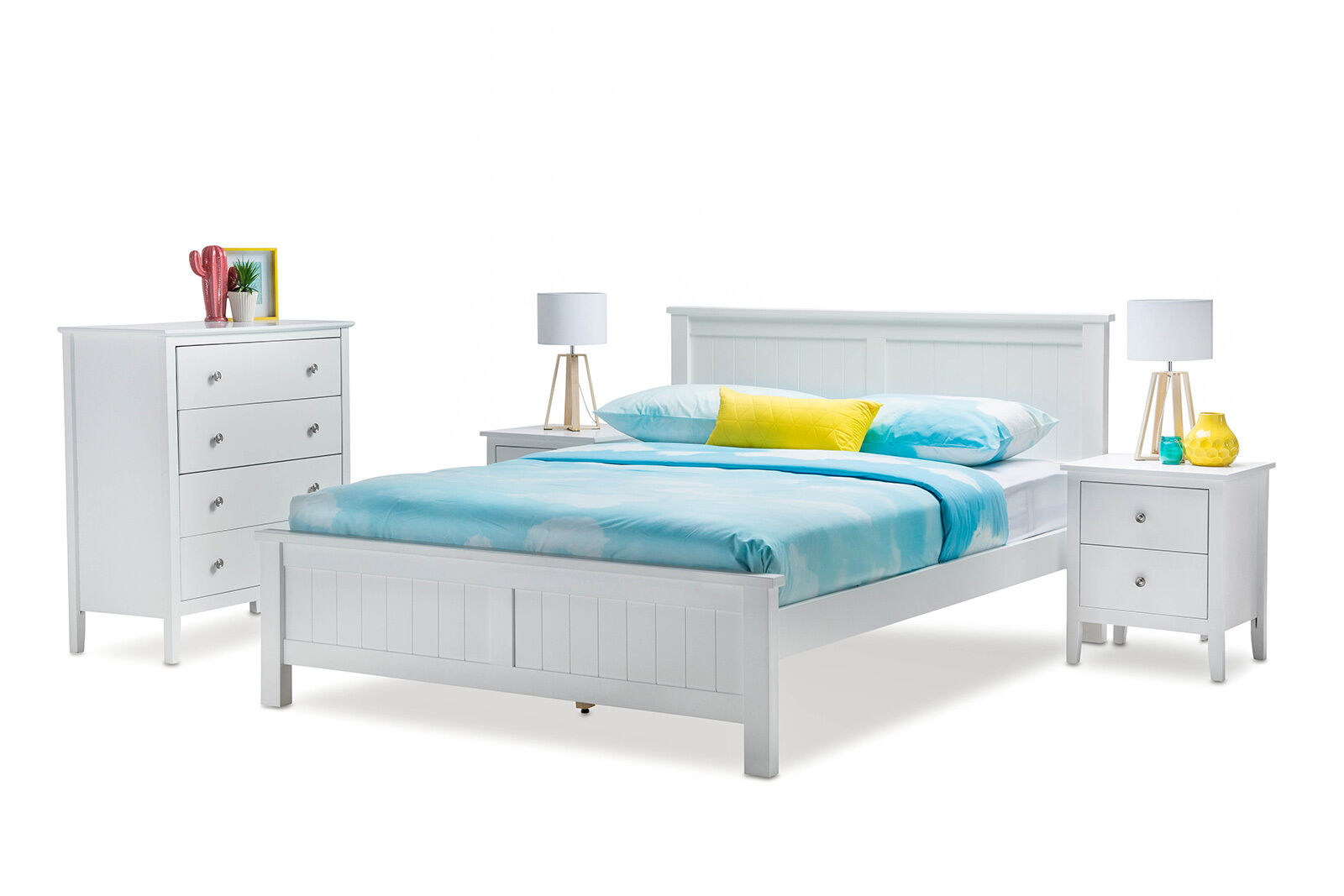WHITE Timber Queen Size Bed Frame Only - Coastal Style *Scratch&Dent ...