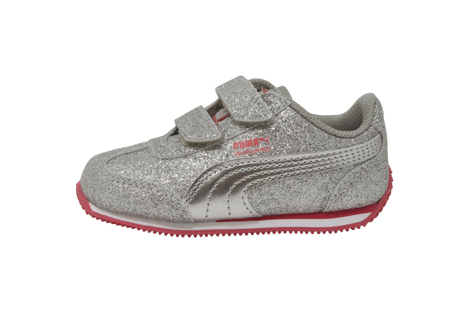 PUMA Shoes Girls Whirlwind Glitz V Toddler Infant Baby Kids Silver Pink Sneaker 1