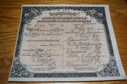 Antique US Treasury Dept Prohibition Prescription Whisky Sept 1926 Tremont PA EX