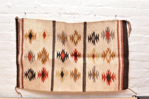 Vintage Navajo Blanket Rug native american indian Wide Ruins Crystal ATQ 36x23