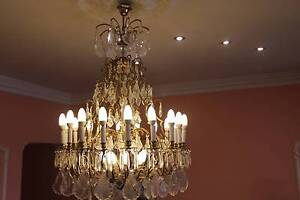 VINTAGE CRYSTAL BRONZE BASKET CHANDELIER Condell Park Bankstown Area Preview
