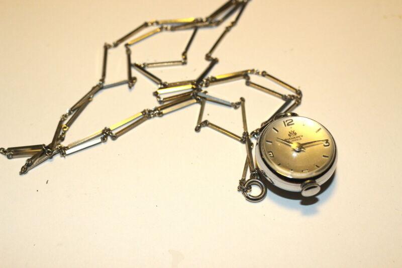 #A192,Rare Bucherer 15J Swiss Pendant Bubble Ball Watch w Art Deco Chain