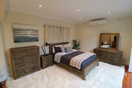 Superb Reclaimed Timber Style 4pc Bedroom Suite - Brand New