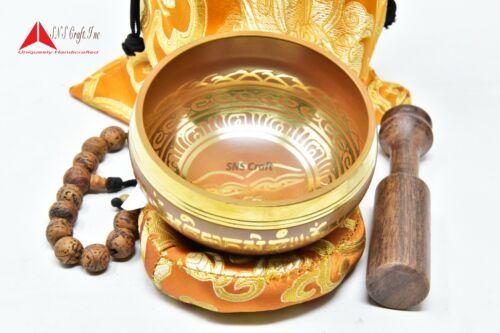 "3.75"" Tibetan Meditation Yoga Singing Bowl Mallet Cushion Carry bag & hand Bead"