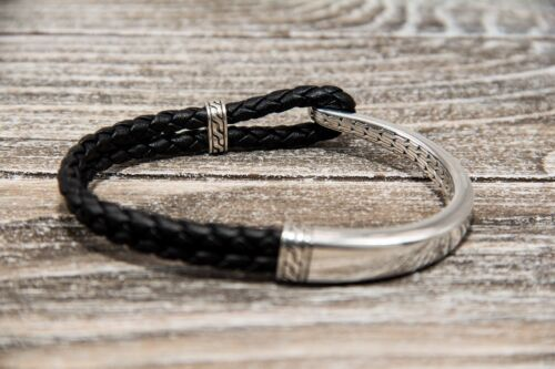 John Hardy Sterling Silver Half Cuff Black Leather Classic Chain Bracelet - $150.00