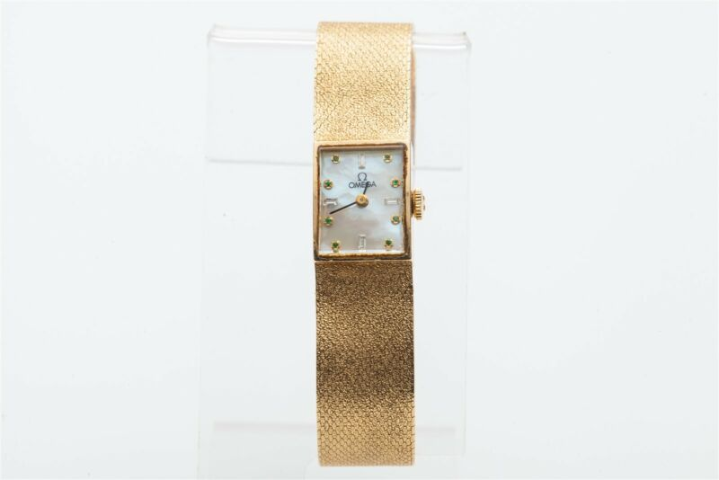 Estate $10,000 Emerald Baguette Diamond Omega Ladies 14k Yellow Gold Watch 38g