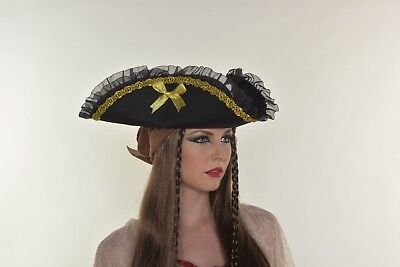 HALLOWEEN COSTUME GOLD PIRATE LADY HAT FOR ADULTS and KIDS PARTY FAVOR  G0383