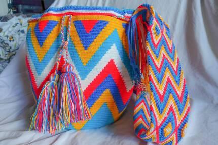 Authentic Handmade Mochila Wayuu Bag - Colombian Colourful Totes