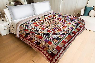 Indian Kantha Quilt King size Bed Cover Applique Work Blanke