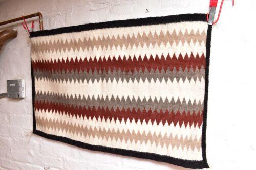 ANTIQUE Navajo Rug native american indian weaving VTG 35x22 EYE Dazzler Striped