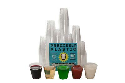2 Oz Plastic Shot Glasses (500 Shot Glasses Premium 2oz Clear Plastic Disposable Cups, Perfect)