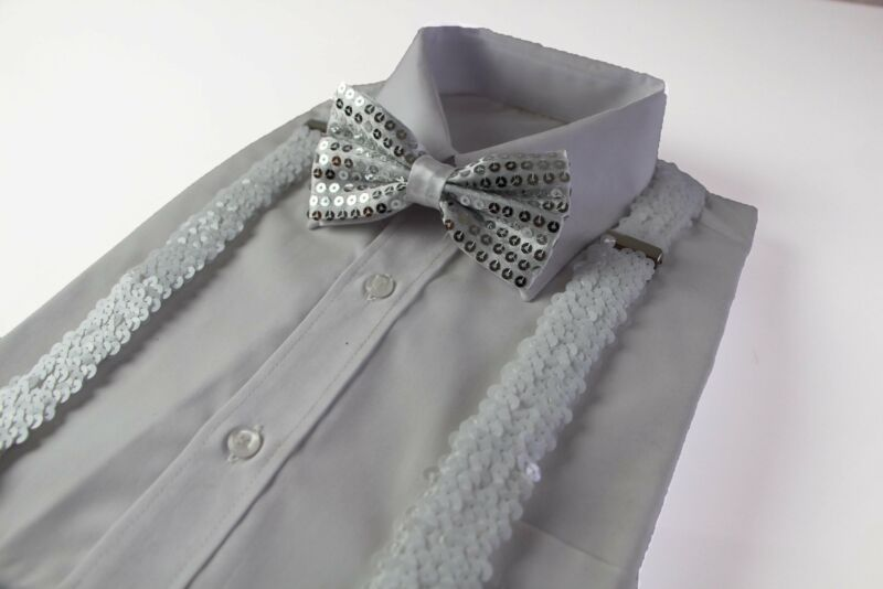 Mens White Sequin Patterned Suspenders & Bow Tie Set