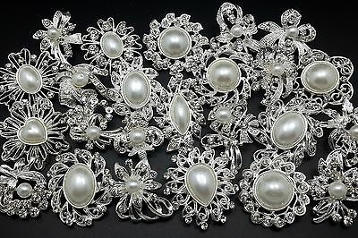 Lot 24 pcs Mixed Silver White Pearl Rhinestone Crystal Brooch Pin DIY Bouquet (Pearl Brooch)