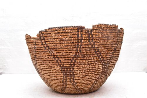 Antique Nisqually Puyallup Salish Native American Indian Imbricated Berry Basket
