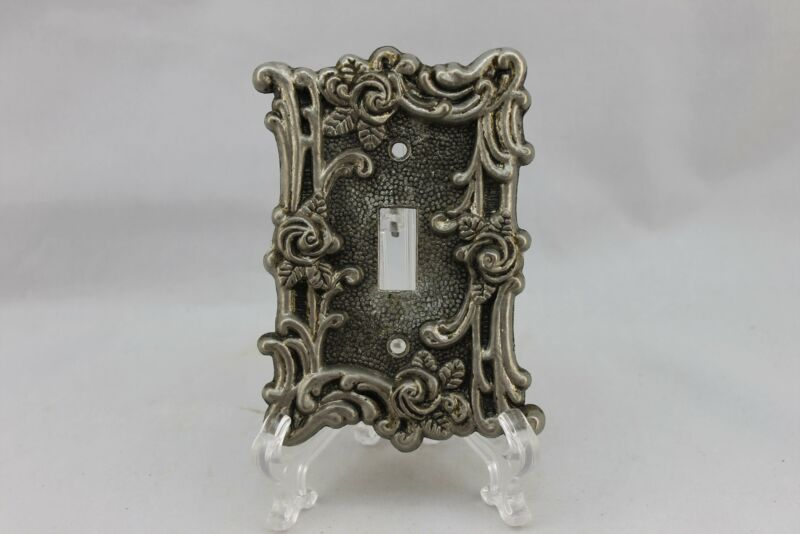 "LP-1792 American 3 1/2"" Silver Brass Ornate Floral Brass 1967 Switch Plate"