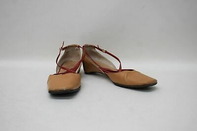 KATE SPADE Ladies Light Brown Red Leather Square Toe Strappy Flat Shoes US8 UK6