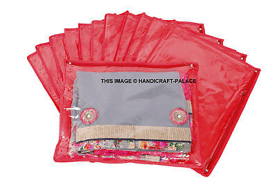 ( 24 PC) Oneside Clear Plastic Clothes Sari Saree Garment Storage cover Bags Red