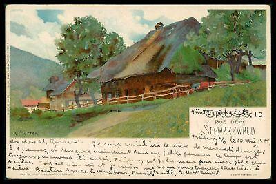 AK GRUSS AUS DEM SCHWARZWALD KÜNSTLERKARTE 1898 FREIBURG - GENF/CH cs83