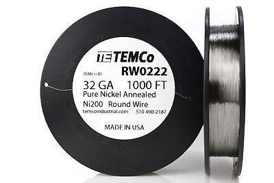 Temco Pure Nickel Wire 32 Gauge 1000 Ft Non Resistance Awg Ni200 Nickel 200ga