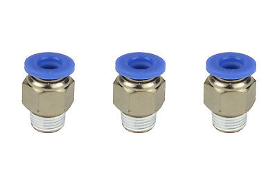 3x Temco Pneumatic Air Quick Push To Connect Fitting 18 Npt To 14 Hose Od