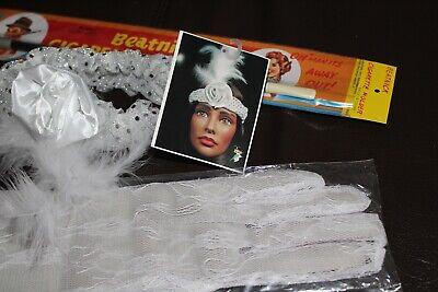Set für 20er Jahre Party weiß Harrband Handschuhe Zigraette Mottoparty - 20er Jahre Mottoparty Kostüm