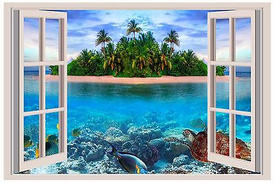 - Tropical Island Sea Turtle Window View Wall 3D Decal Graphic Sticker Mural Kids