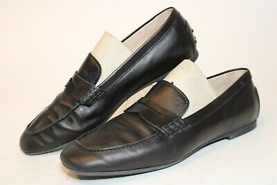 Tod's Italy Made Womens 37 7 Black Leather Driving Moccasins Flats Shoes